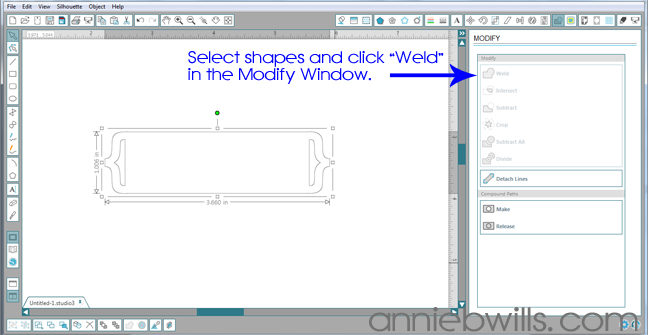 Designing Simple Tag Shapes in Silhouette Studio by Annie Williams - Welding Slider Tag