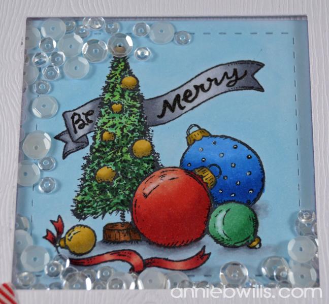 Bottlebrush Tree Shaker Card by Annie Williams - Detail 2