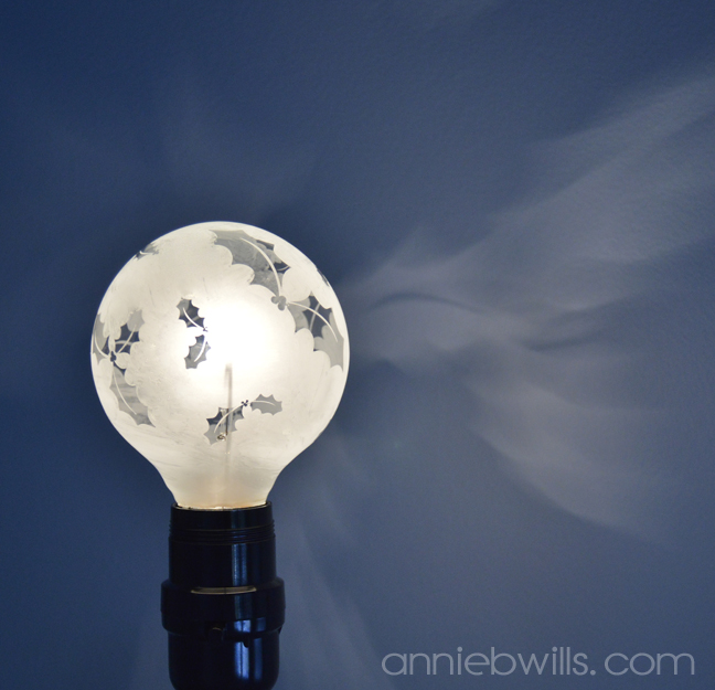 Wintry Etched Lightbulbs by Annie Williams - Holly Detail 2
