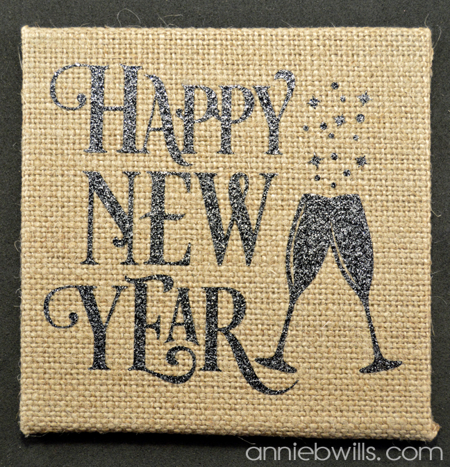Burlap New Years Eve Coasters by Annie Williams - New Year Detail