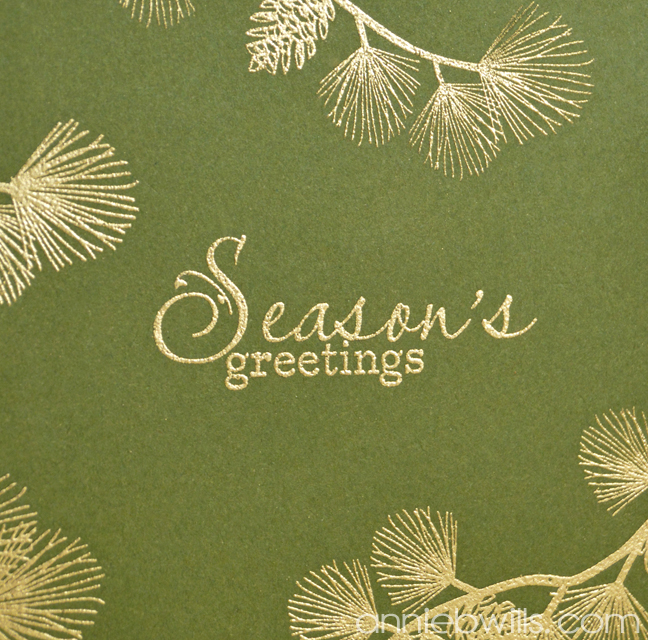 Gold Embossed Pines Card by Annie Williams - Detail