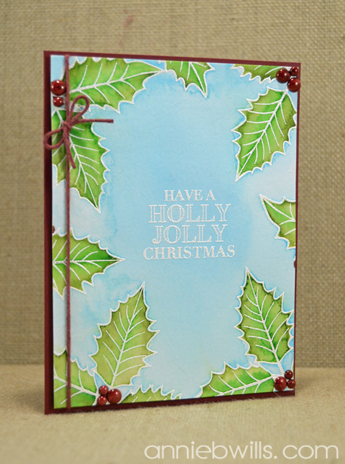 Watercolor Holly Card by Annie Williams - Main