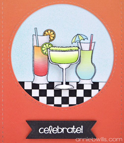 Celebrate with Tropical Drinks Card by Annie Williams - Detail