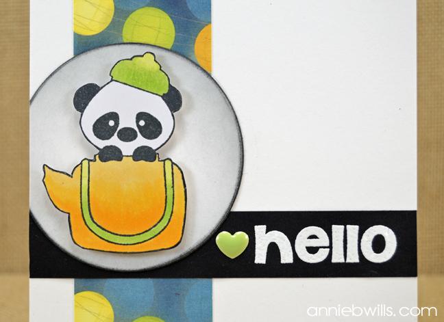 Hello Panda Card by Annie Williams - Detail