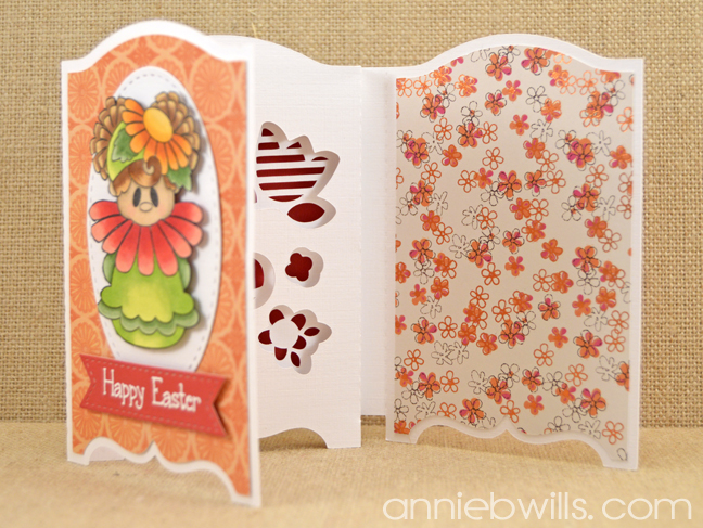Easter Flowers Shadow Box Card by Annie Williams - Open 1