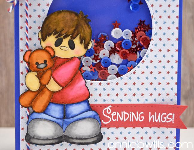 Sending Patriotic Hugs Card by Annie Williams - Detail