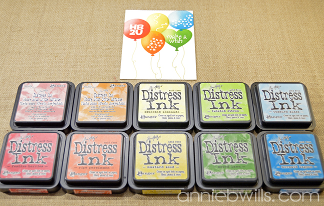 Stenciled Balloons Birthday Card by Annie Williams - Ink Blending