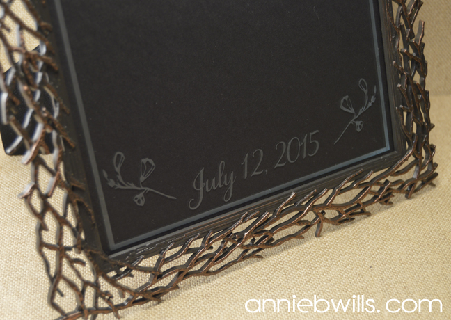 Custom Etched Wedding Frame by Annie Williams - Detail
