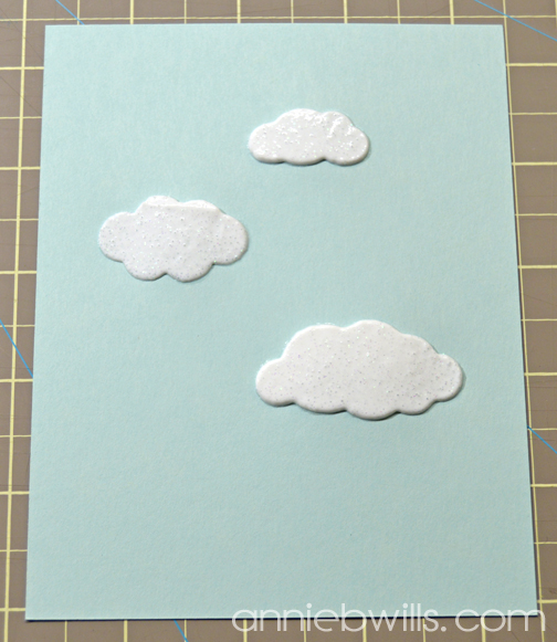 Balloons in the Clouds Card by Annie Williams - Stenciled Clouds
