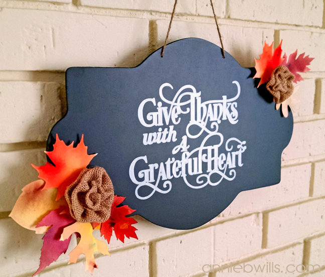 Thanksgiving Chalkboard Sign by Annie Williams - Side