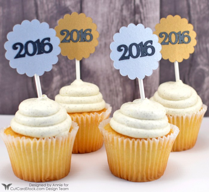 New Year's Eve Cupcake Toppers by Annie Williams for CutCardStock - Back