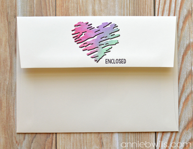 Simple Watercolor Valentine Card and Envelope by Annie Williams - Final Envelope