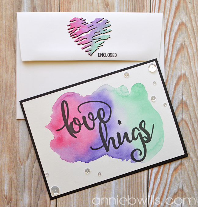 Simple Watercolor Valentine Card and Envelope by Annie Williams - Set