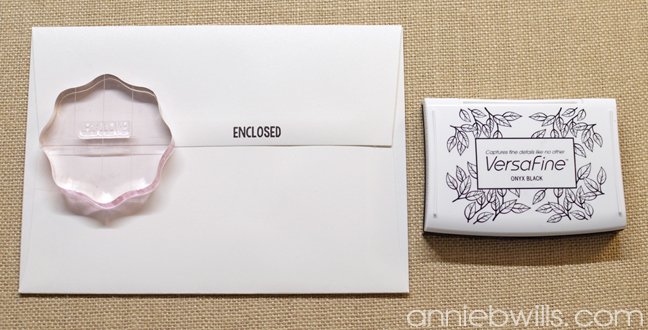 Simple Watercolor Valentine Card and Envelope by Annie Williams - Stamping Envelope