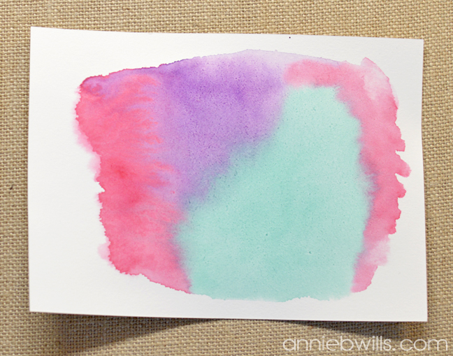 Simple Watercolor Valentine Card and Envelope by Annie Williams - Watercolor
