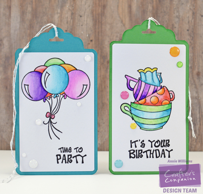 Spectrum Aqua Birthday Tags by Annie Williams - Main