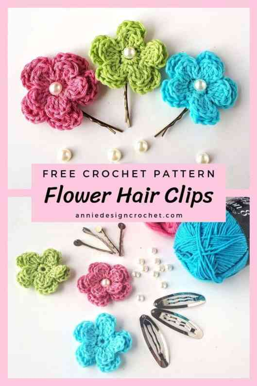 free crochet pattern for flower hair clips