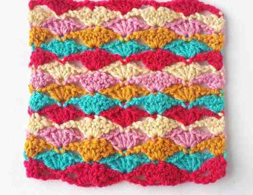 crochet stitch shell fan tutorial