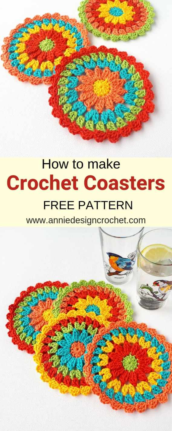 crochet coaster free easy pattern anniedesigncrochet