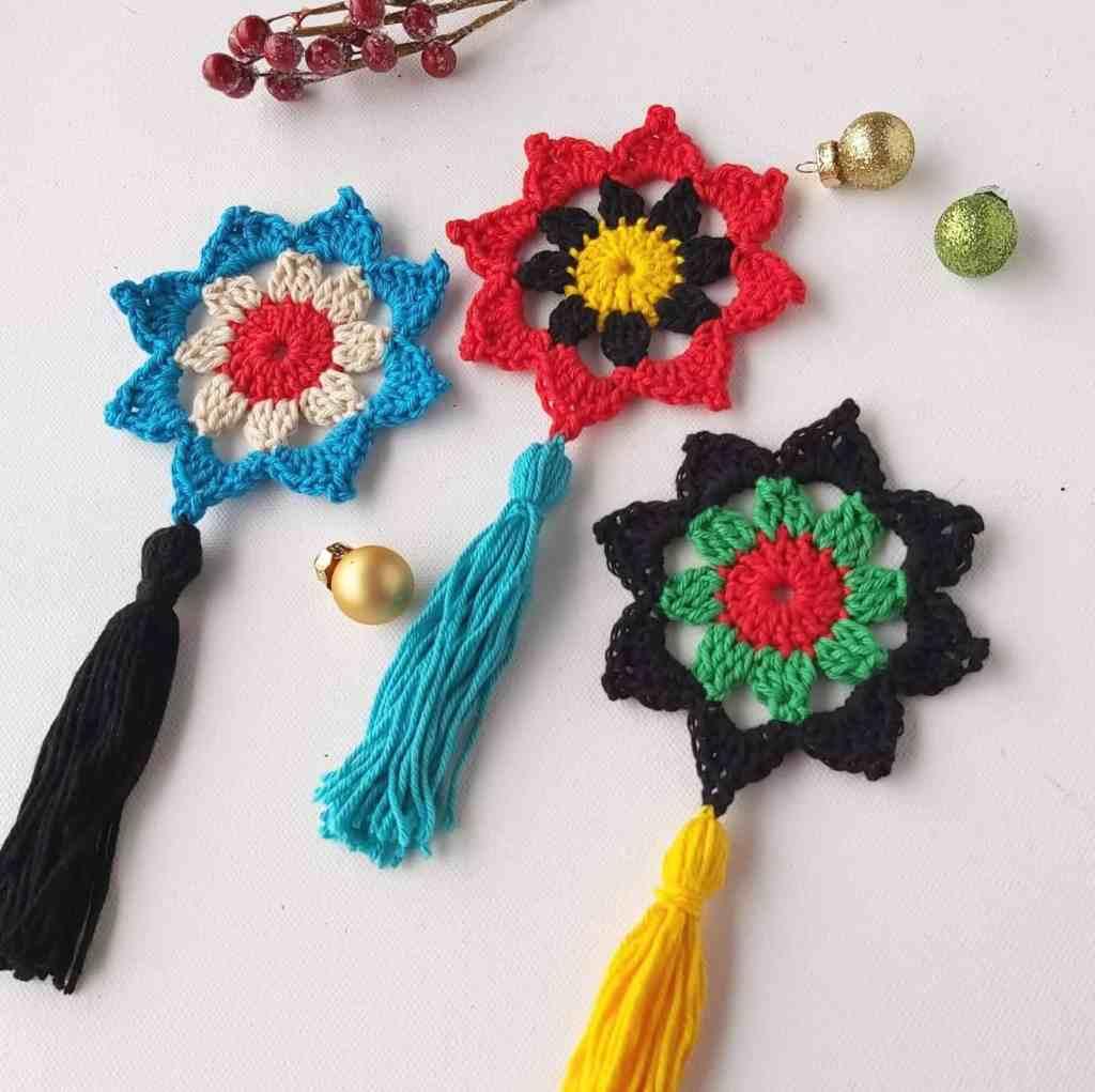 15 Minute Christmas Crochet Decoration – Free Pattern for Tassel Stars