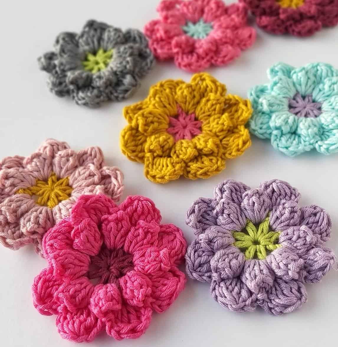 Wool crocheted flower