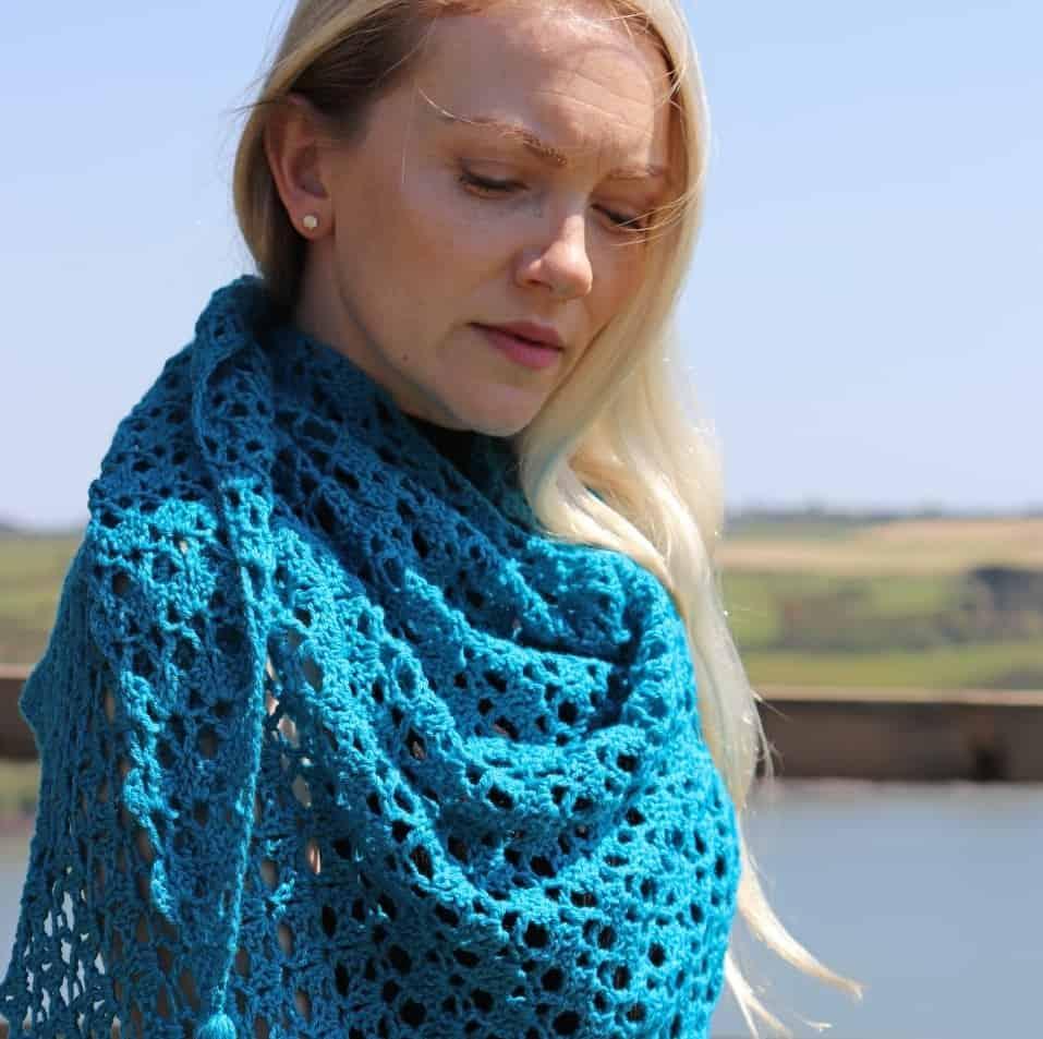 Easy Crochet Triangle Shawl – Larkspur