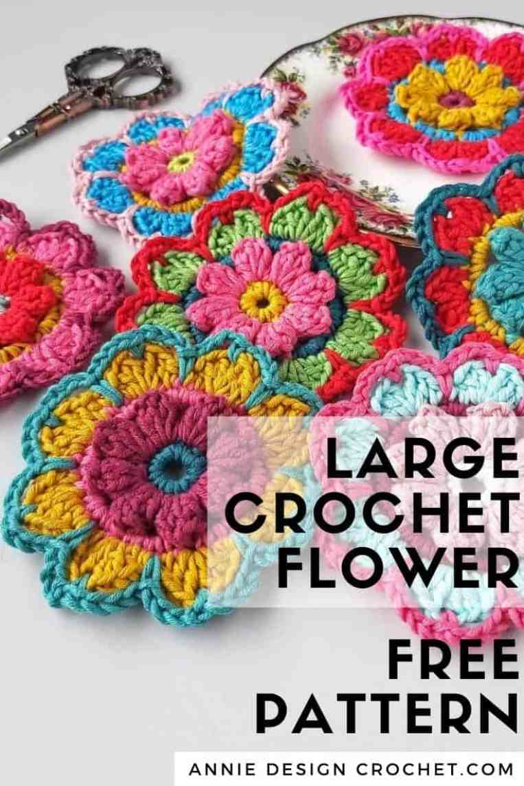large crochet flower free pattern
