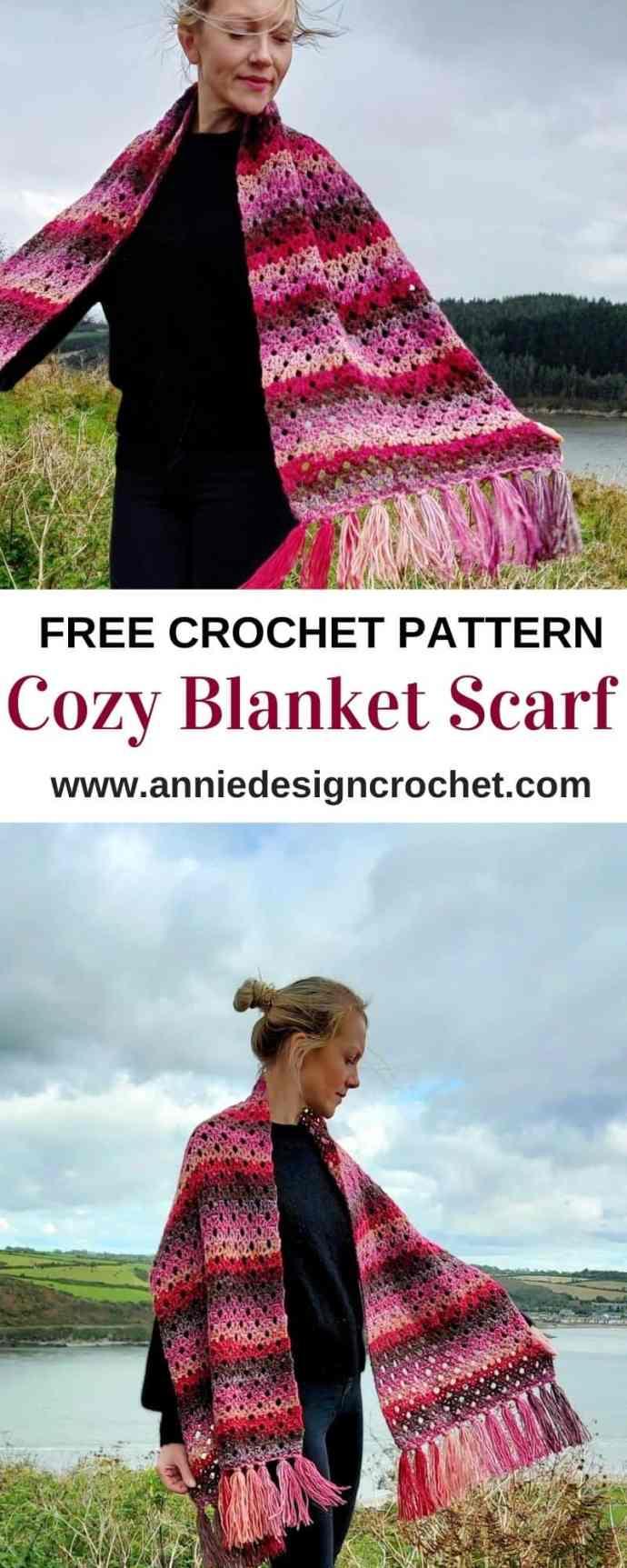 cozy crochet blanket scarf free pattern