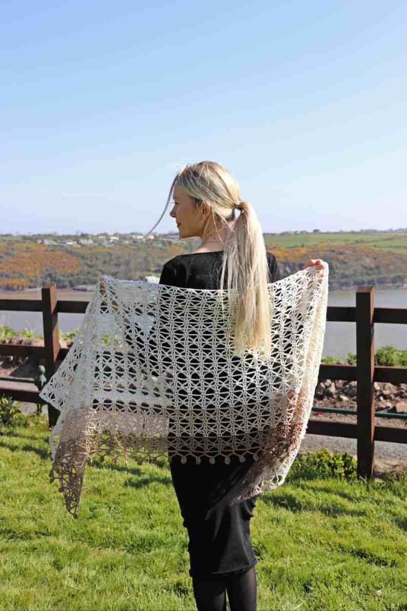 delicate lace crochet shawl