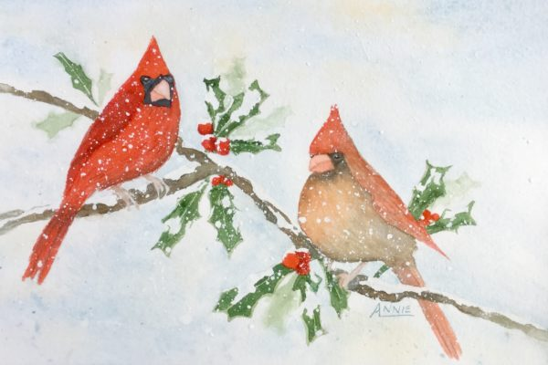 My Watercolor Christmas Card of Cardinals | Sketching and Painting ...
