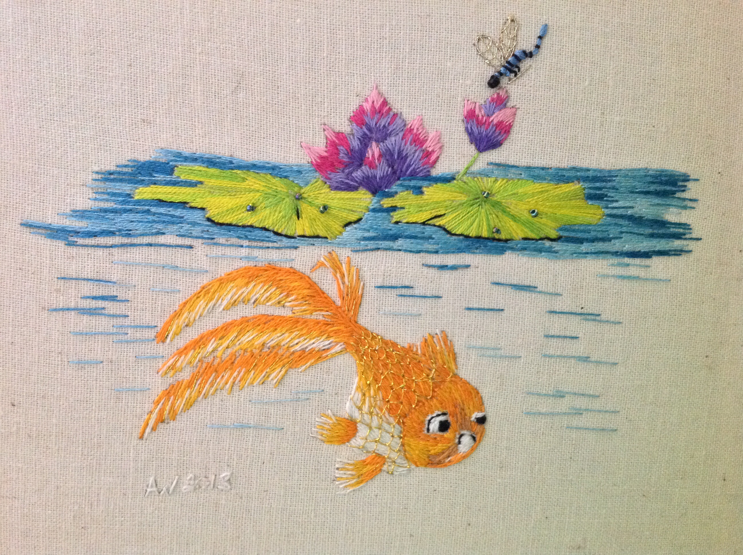 Crewel embroidery needle art with avis withers