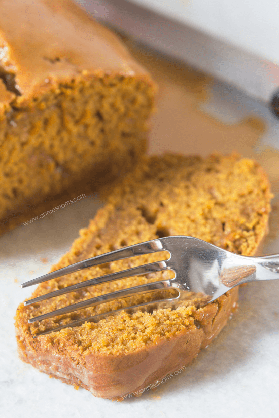 Pumpkin Bread with Salted Caramel Glaze   Annie's Noms - This Pumpkin Bread with Salted Caramel Glaze is sure to become a family favourite! Soft, tender and almost fudgy, the lightly spiced bread is perfectly complimented by the salty, sweet glaze.