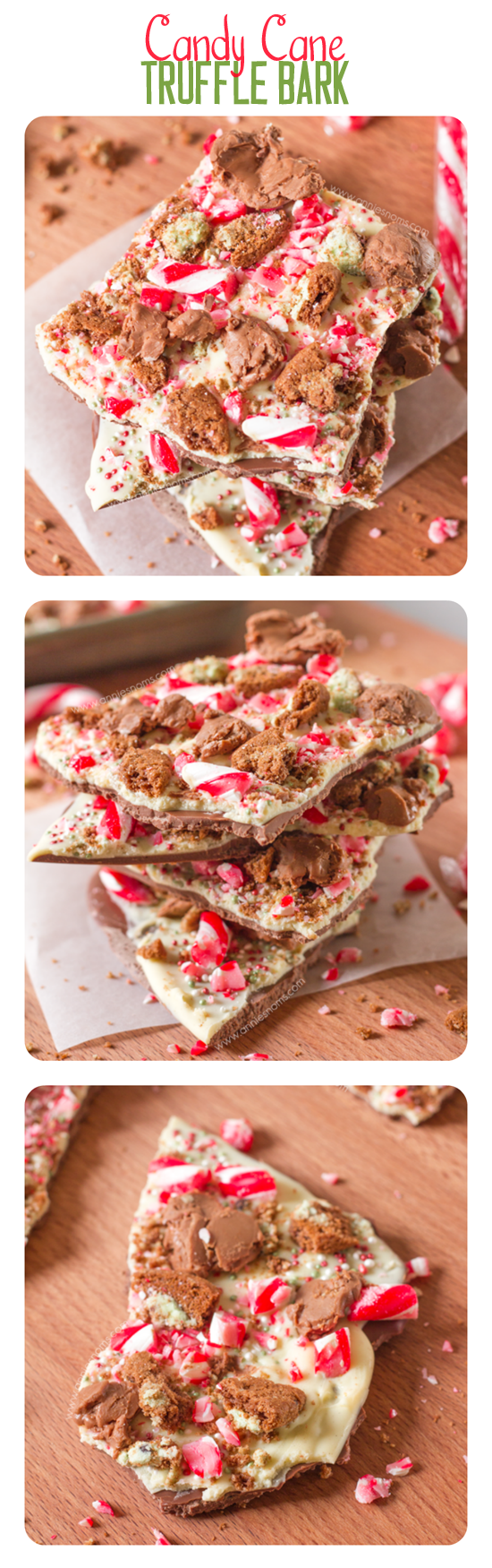 With layers of milk and white chocolate covered in crushed candy canes, mint chocolate biscuits and Lindor truffles, this bark is easy and tastes great!