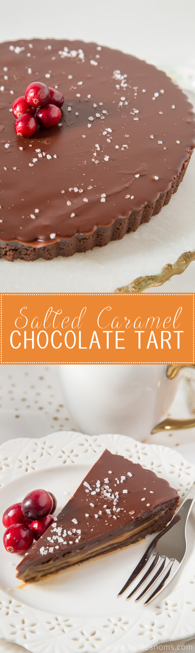 This no-bake Salted Caramel Chocolate Tart is rich, decadent and ridiculously easy to make! The sweet caramel cuts through the chocolate creating one heavenly dessert!