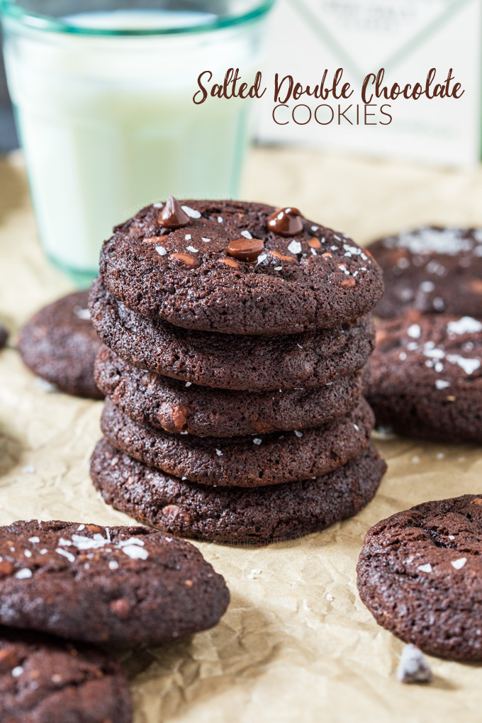 These Salted Double Chocolate Cookies marry sweet and salty together perfectly in one fudgy, soft cookie. With cocoa powder AND milk chocolate chips, you are bound to fall head over heels for these!