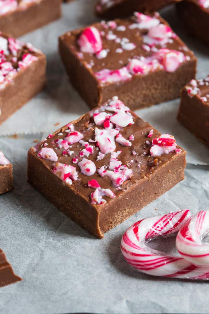 Smooth, chocolatey, filled with peppermint and with a crunchy top, this melt in your mouth Candy Cane Fudge is the perfect edible gift to make this Christmas!