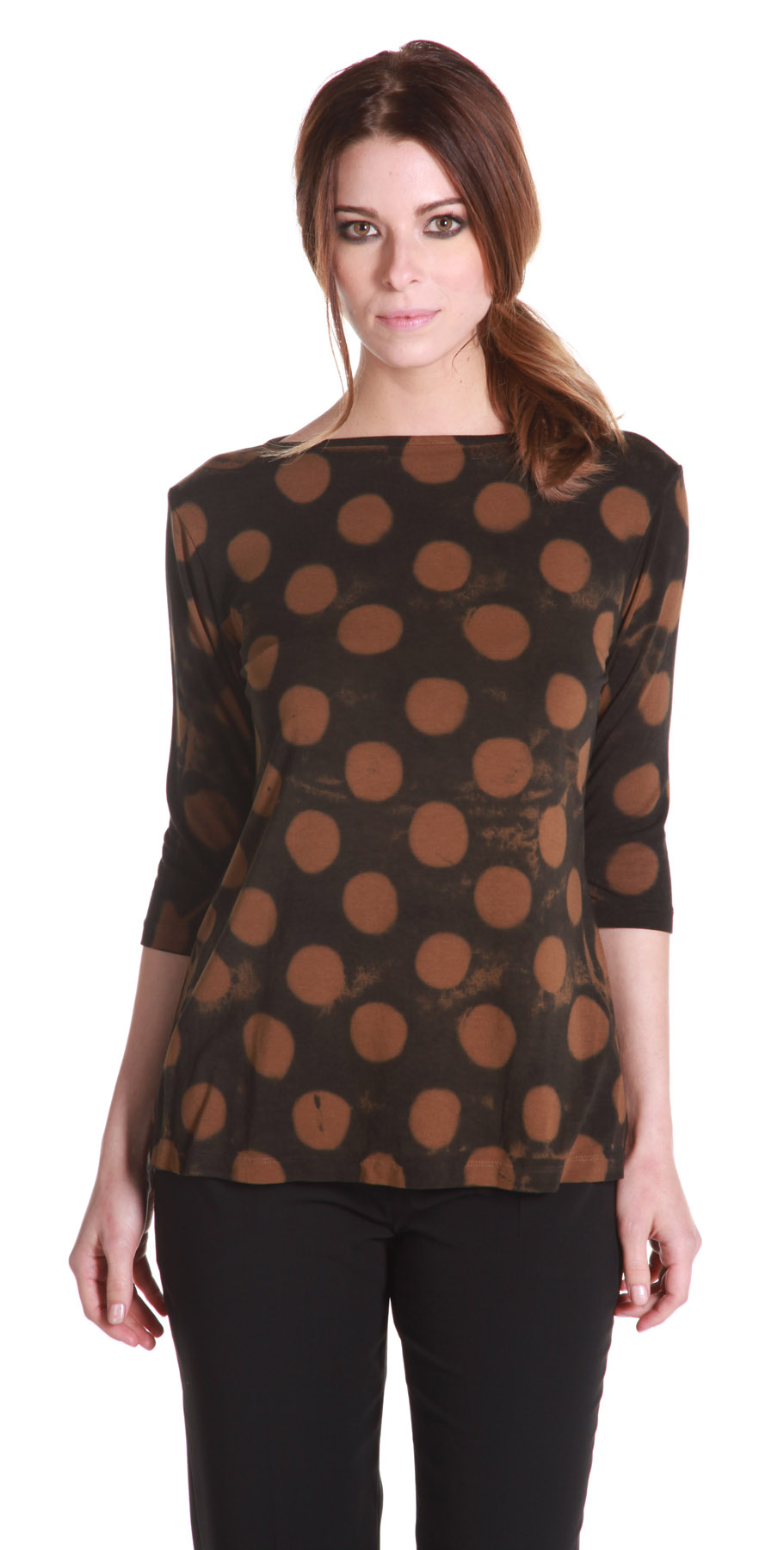 RELAXED BOAT NECK 3_4 SLEEVE – CHOCOLATE POLKA DOT