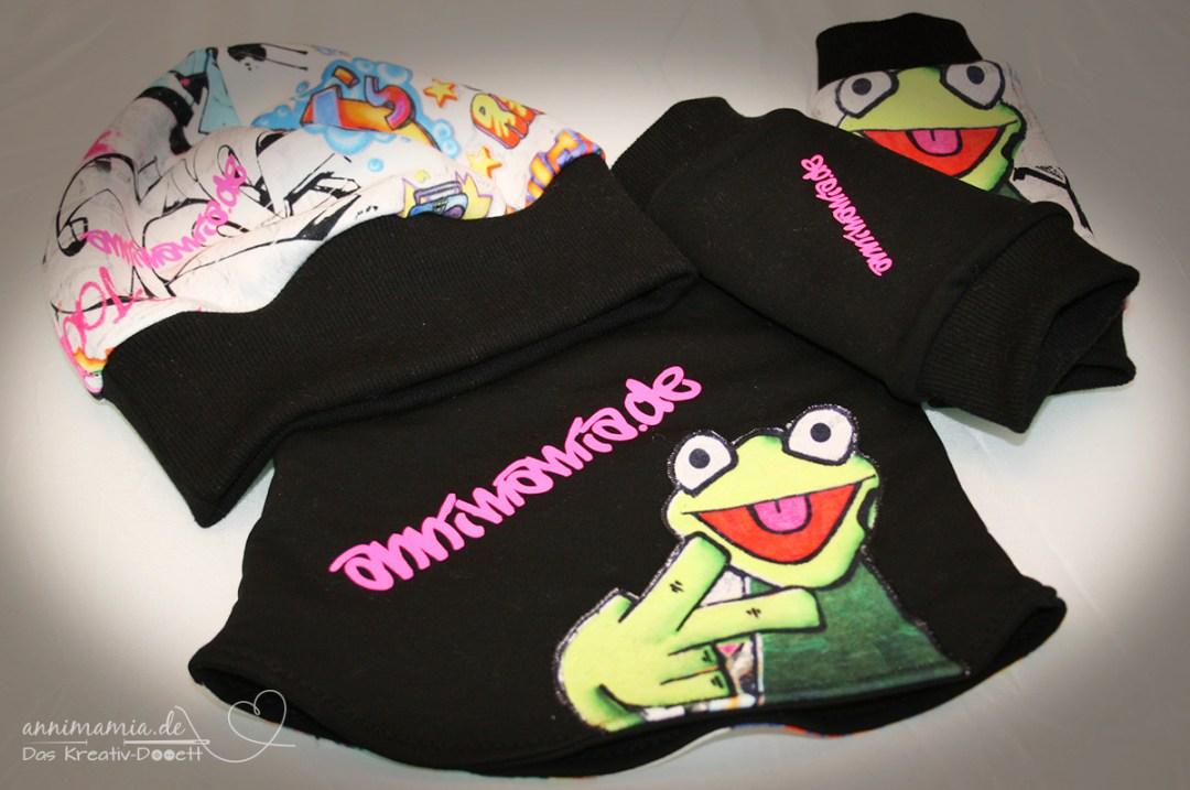 Kermit Graffiti Set aus Armstulpen, Mütze und Halssocke