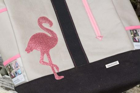 Rucksack No. 1 - Flamingo aus Shiny Glitzer