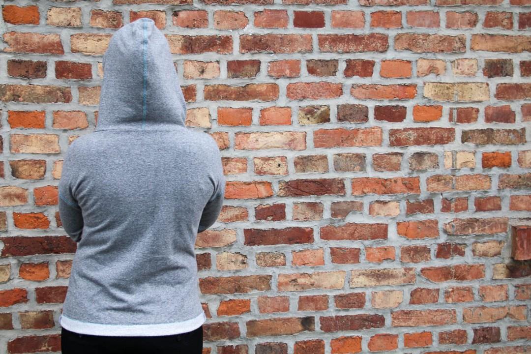 Hoodie Wintersally aus grauem Lillestoff-Sweat