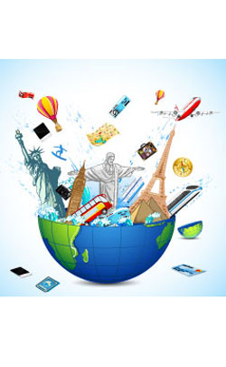 world globe exploding with famous torist travel destinations tor represent the 43rd modern anniversary theme