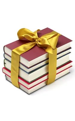 Pile of books with a gift bow around them to represent the 47th year anniversary theme