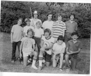 Catfish in hat, Wes Eisenburg beside Fish, my brother, R.J., back row left