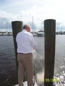 Bob Caffrey spreading Dad's ashes.