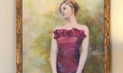 Painting of beautiful girl in gown