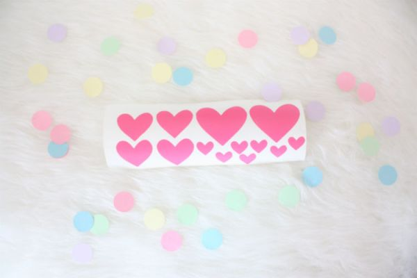 muursticker hartjes roze