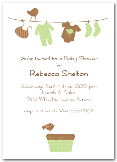 Green Amp Brown Baby Laundry Line Baby Shower Invitation