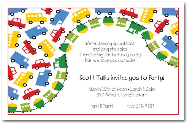 Primary Transportation Boys Birthday Party Invitations