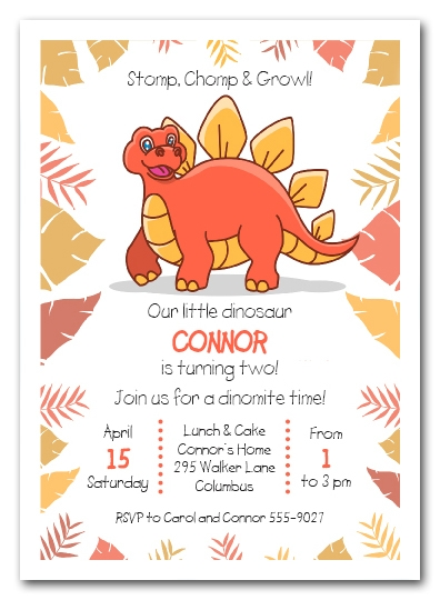 dinosaur birthday invitation card