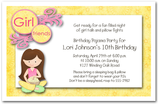 Dark Hair Girl Pajama Party Sleepover Invitations Girls